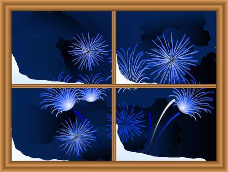Blue firework through the window Vector