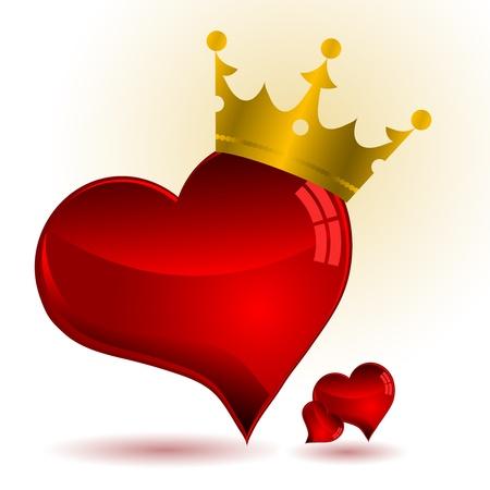 Rojo corazón de cristal con corona de oro Ilustración de vector