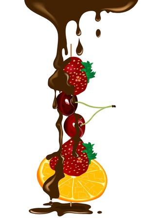 brochetas de frutas: Frutas frescas en el pincho en el chocolate