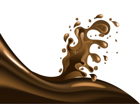 Brown chocolate wave and splash Illustration