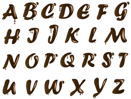Brown chocolate alphabet with drops