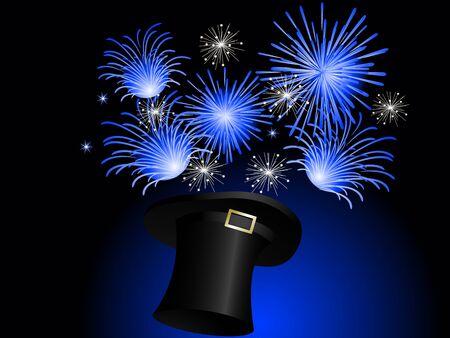 black magic: Blue fireworks in black magic hat