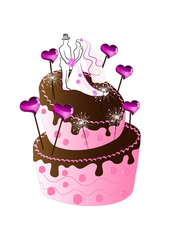 Rose wedding cake with hearts Vector