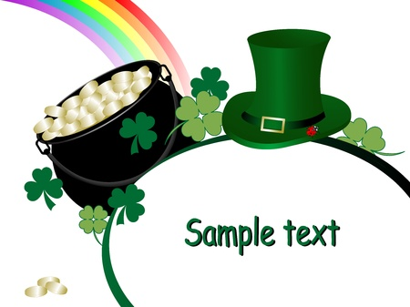 St.Patricks cauldron, hat and rainbow Vector