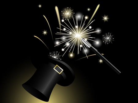 Sparklers in black magic hat Vector