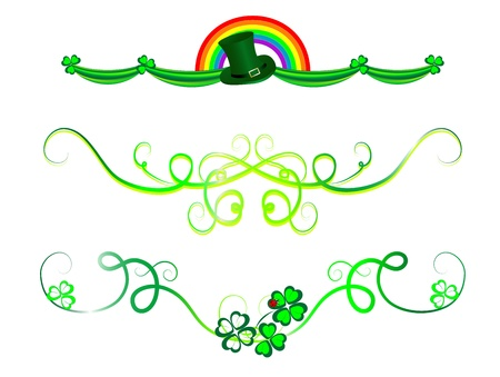 four fourleaf: Ghirlande St.Patrick 's verdi con trifogli