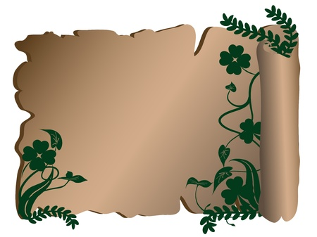 Old parchment with floral elements Vector