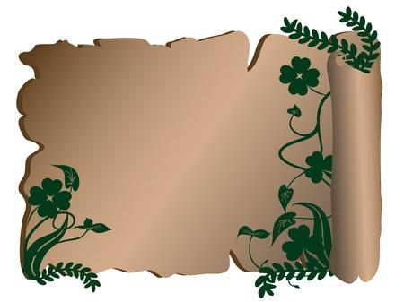 four fourleaf: Vecchia pergamena con elementi floreali