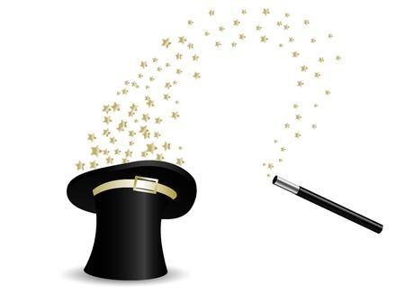 zylinder: Goldene Sterne in magische Zylinder Illustration