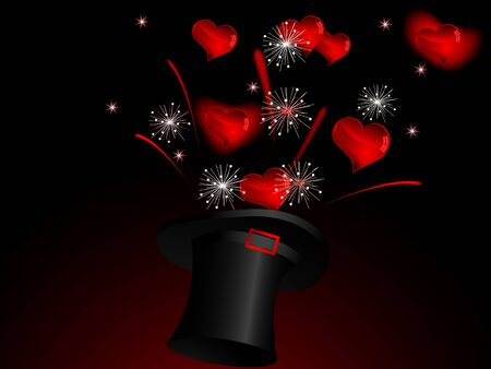 Magic cylinder and red hearts Vector