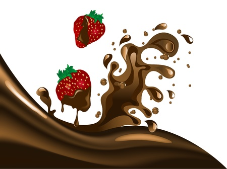 Chocolate splash with two strawberries