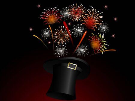 pf: Red fireworks in black magic hat