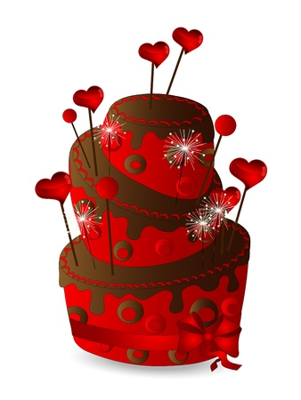 Red cake with chocolate and hearts Illustration