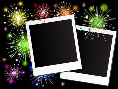 new year photo frame: Photo frames and the fireworks