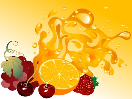 grape fruit: Fruit juice splash and the fruits Illustration
