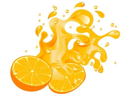オレンジ、オレンジ ジュースのスプラッシュ  イラスト・ベクター素材