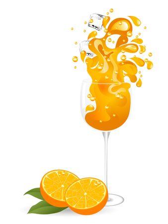 orange juice glass: Oranges and orange juice splash