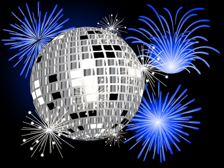 Disco ball, firework and sparklers Vector