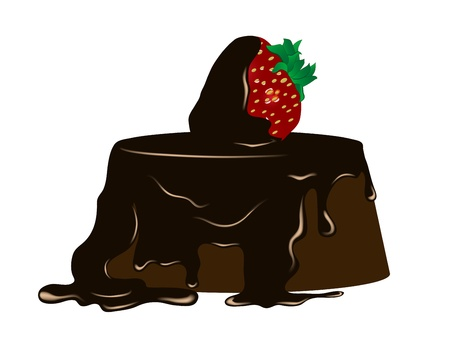 cocoa fruit: Chocolate cake with fresh strawberry