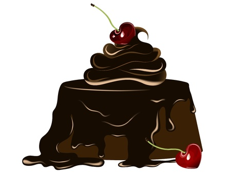 Chocolate cake with fresh cherry Vector