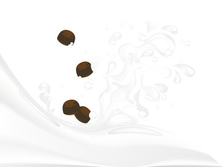 Milk splash with chocolate candies Vector