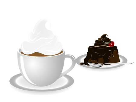 whites: Coffee and small chocolate cake Illustration