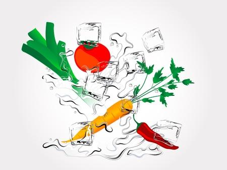 frozen drink: Fresh vegetables in water splash Illustration