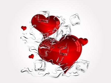 Red hearts in water splash Vector