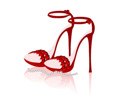 Ladies shoes with spike heels and hearts Vector
