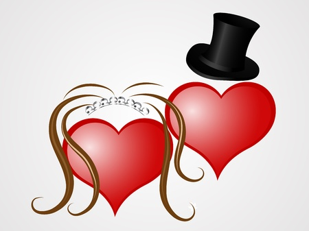 man long hair: Two valentine heart as a bride and groom