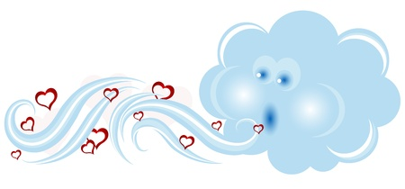 blows: Blowing blue cloud and red hearts Illustration
