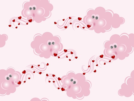 Pink seamless pattern with clouds and hearts Vector