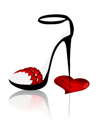 Ladies shoe with spike heels and broken heart Vector