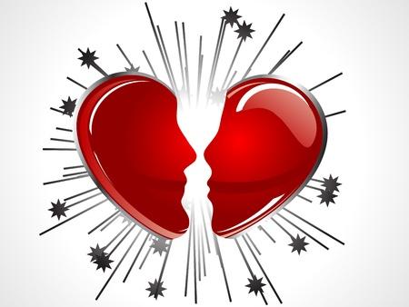 Broken red heart as two faces Vector