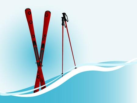 extremesport: Red ski and ski sticks on blue wave Illustration