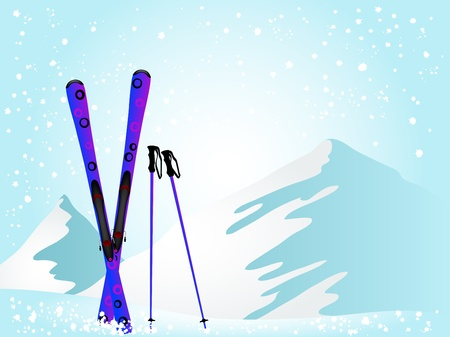Violet ski against the snowy mountains Vector