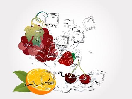 ice cubes: Fresh fruits in water splash Illustration