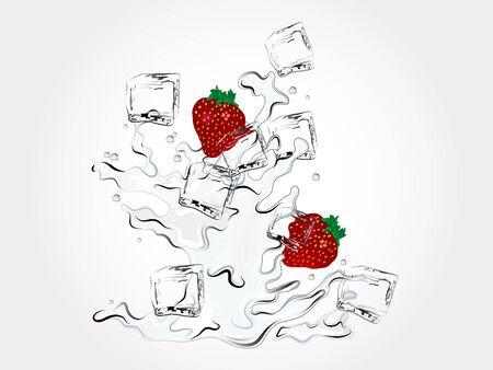frozen drink: Fresh strawberries in water splash