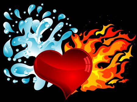 heart in flame: Red heart with water splash and the fire