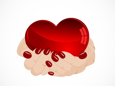 Red valentine heart in womans hands Vector