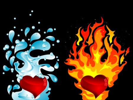 Red hearts with water splash and the fire Vector