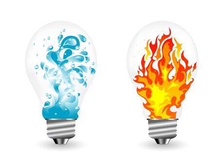 Lightbulbs with water splash and the fire inside Ilustracja