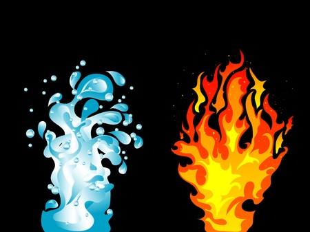 fire water: Black background with water splash and the fire