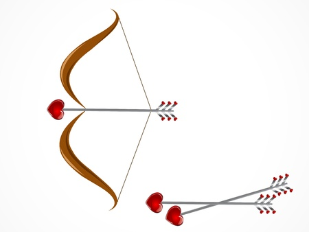 crossbow: Wooden crossbow and arrows with red hearts
