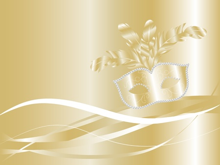 fantasia: Golden carnival background with luxury face mask