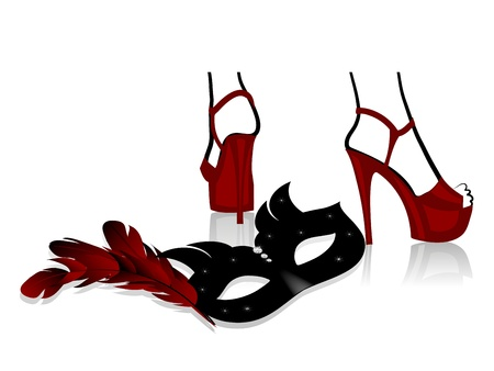 カーニバルの高級フェイス マスクと赤の女性の靴