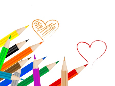 Coloured crayons painting red and orange heart Vector