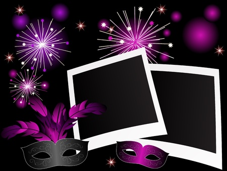 fantasia: Violet carnival background with photo frames and face-mask