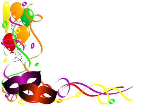 Carnival background with balloons, ribbons and face masks Vector
