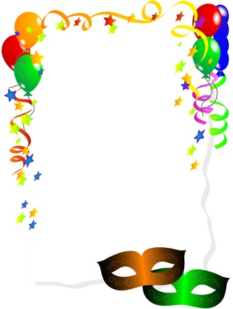 konfeti: Carnival background with balloons, ribbons and face masks